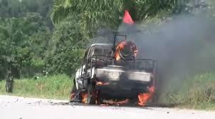 Image de la jeep où était Mamadou Ndala et ses gardes lors de l'attaque du 02.01.2014 à Béni